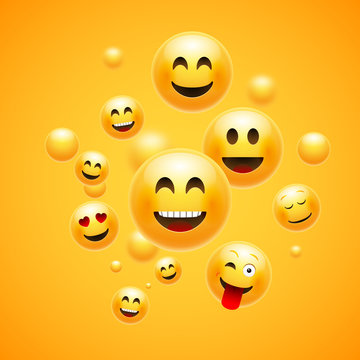 Emoji 3d emoticon background. Cartoon face group smiley happy friendship emoji funny design concept