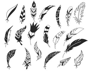 Rustic decorative feathers. Hand drawn vintage vector design set. Tribal Feathers. Ink illustration. Isolated on white background.