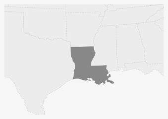 Map of USA with highlighted Louisiana state map Fotomurales