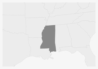 Map of USA with highlighted Mississippi state map