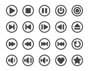 media player button icon set