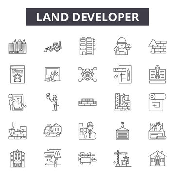 Land developer line icons, signs, vector set, outline concept, linear illustration