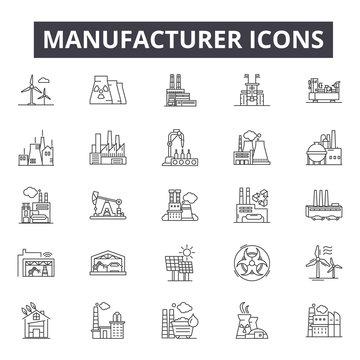 Manufacturer concept line icons, signs, vector set, outline concept, linear illustration