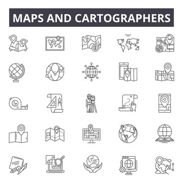 Maps and cartographers line icons, signs, vector set, outline concept, linear illustration