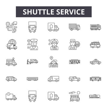 Shuttle service line icons, signs, vector set, outline concept, linear illustration