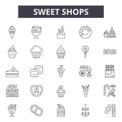 Sweet shops line icons, signs, vector set, outline concept, linear illustration