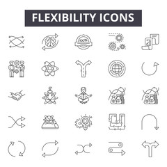 Flexibility line icons, signs, vector set, outline concept, linear illustration