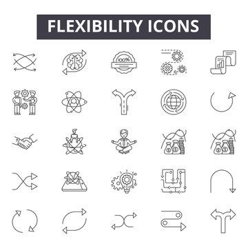 Flexibility line icons, signs, vector set, outline concept, linear illustration