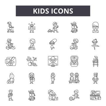 Kids line icons, signs, vector set, outline concept, linear illustration