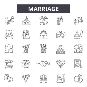Marriage line icons, signs, vector set, outline concept, linear illustration