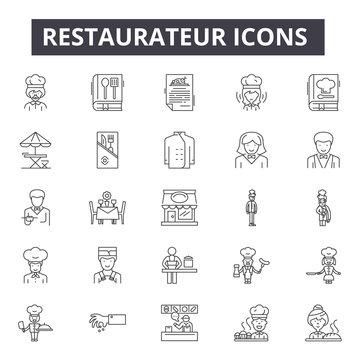 Restaurateur line icons, signs, vector set, linear concept, outline illustration