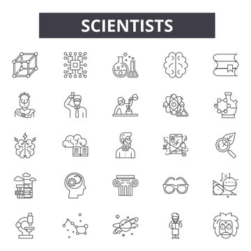 Scientists line icons, signs, vector set, outline concept, linear illustration