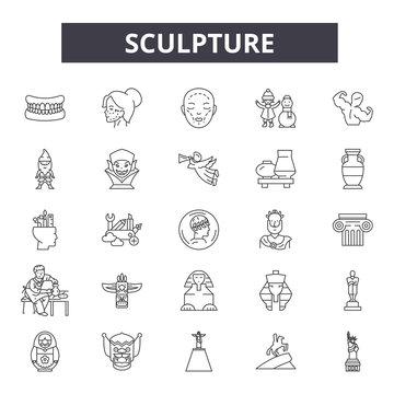 Sculpture line icons, signs, vector set, outline concept, linear illustration