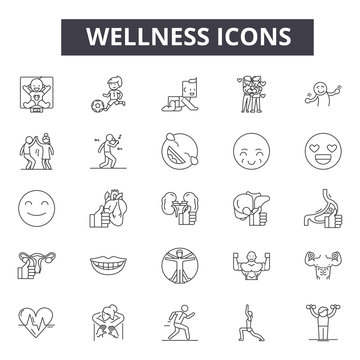 Wellness line icons, signs, vector set, outline concept, linear illustration