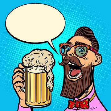 hipster drinking a mug of beer