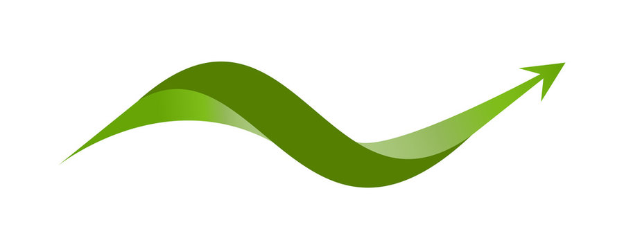 Wavy Arrow. Flat Element and Icon. Ecology Concept for Earth Hour, Earth Day, Ocean Day and other ECO dates. Vector Illustration.