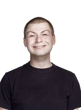Portrait of young man. Facial expression. surprise and autistic face.