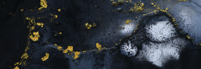Abstract marbleized effect background. black, gray and gold creative colors. banner