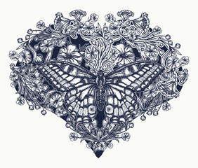 Butterfly and nouveau flowers in form of heart. Tattoo and t-shirt design. Symbol of love, tenderness, romanticism