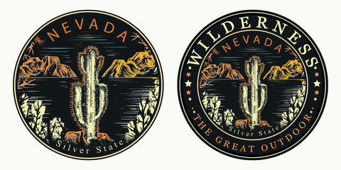 Nevada. Silver State. Cactus and mountains. Wilderness, the great outdoors slogan. Symbol of tourism and travel