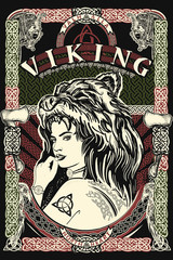 Celtic print. Viking slogan. Barbarian woman warrior in skin of bear.  Northern celtic mythology art, t-shirt design
