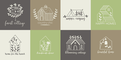 Fototapeta House, home, cottage and farm logo template with hand drawing icons obraz