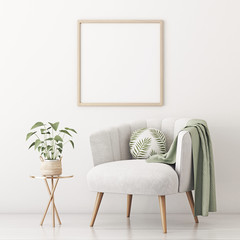 Poster mockup with square frame on empty white wall in living room interior with gray velvet armchair, round pillow with tropical pattern, green plaid and plant in basket. 3D rendering.