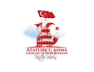 vector illustration 19 mayis Ataturk'u Anma, Genclik ve Spor Bayramiz