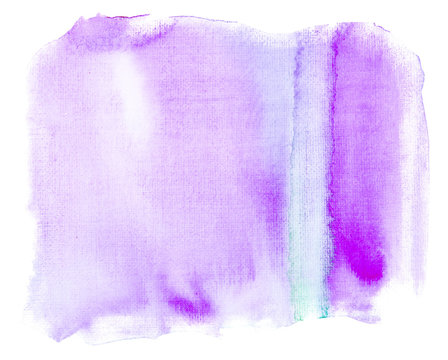 watercolor rectangle stain purple on white background isolated