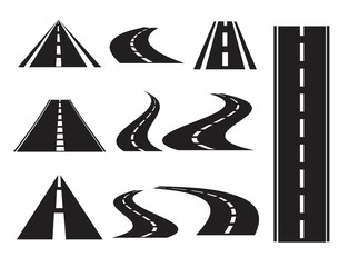 Road icons set, isolated on white background,
