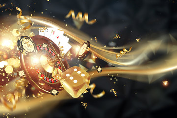 Creative background, roulette, gaming dice, cards, casino chips on a dark background. The concept of gambling, casino, winnings, Vegas Games Background. 3D render, 3D illustration Wall mural