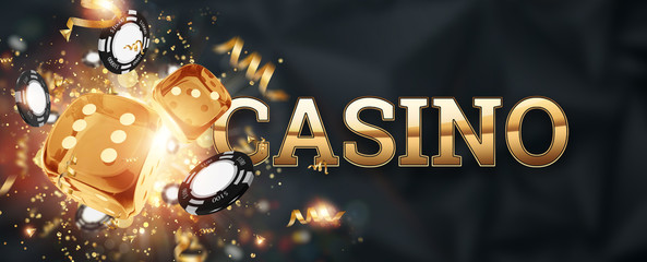 Creative background, inscription casino, roulette, gambling dice, cards, casino chips on a dark background. The concept of gambling, casino, winnings, Vegas Games. 3D render, 3D illustration.