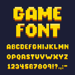 Pixel game font set, text and typography elements