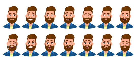 Set of male character with different emotions. Bearded man's various collection of facial expressions. Collage of avatar and emoji for young man. Human emotion concept illustration in vector cartoon.
