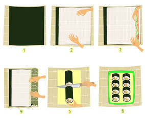 Preparation of sushi in pictures. Step-by-step instruction. Do it yourself National Japanese cuisine. Seafood and rice rolls. Vector illustration.