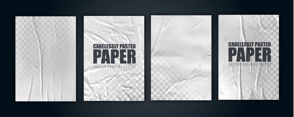 vector illustration object. badly glued white paper. crumpled poster Wall mural