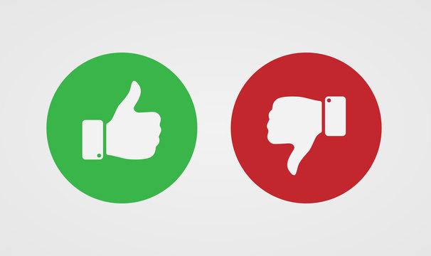 Thumb up and down on a background of green and red circles. Vector illustration.
