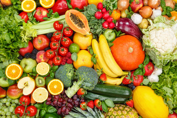Wall Mural - Fruits and vegetables collection food background apples oranges tomatoes fresh fruit vegetable