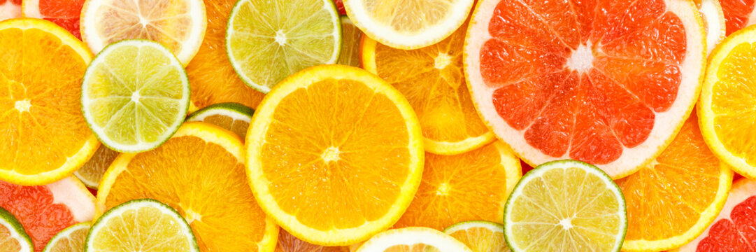 Citrus fruits collection food background banner oranges lemons limes grapefruit fresh fruit