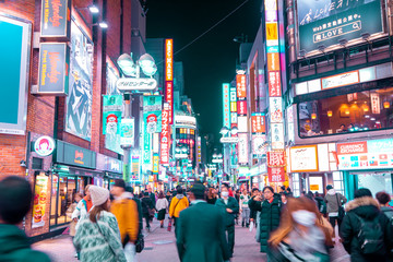 TOKYO,JAPAN - February 22, 2019 : Blurred people walking in  Shibuya  street , Japan
