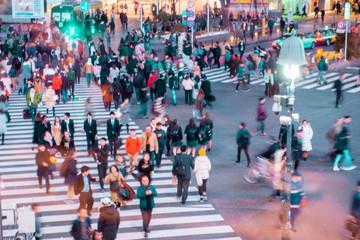 TOKYO,JAPAN - February 22, 2019 : Blurred people walking in  Shibuya  street , Japan Fotomurales