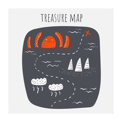 Treasure map with octopus, clouds, storm, riffs, ship route, waves, ocean.