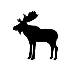 Elk moose bull mammal black silhouette animal. Vector Illustrator.