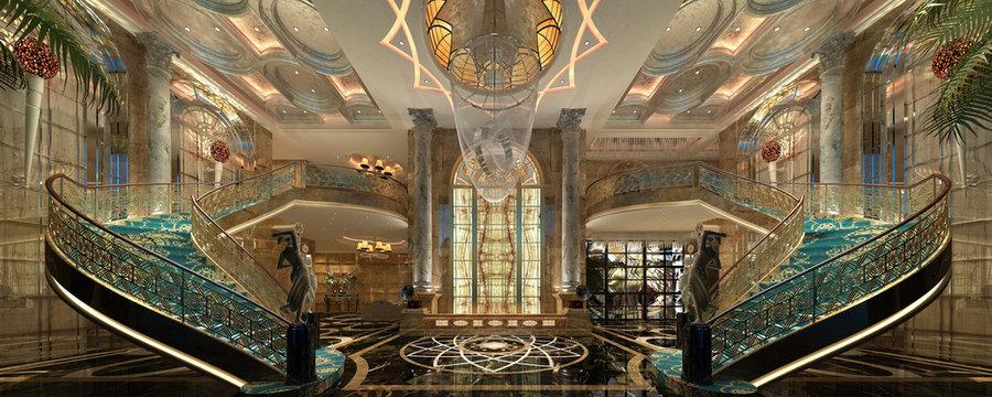 3d render of luxury hotel reception lobby