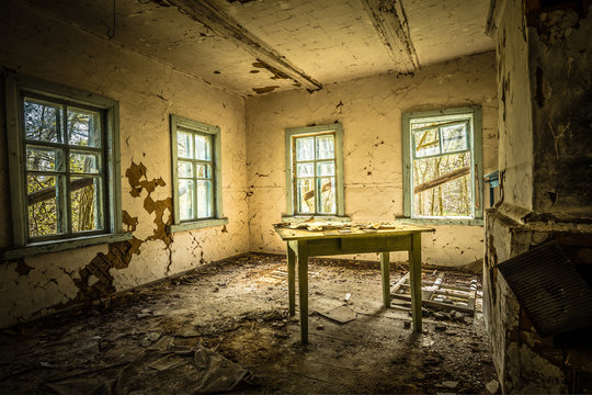 Abandoned school with ghost in Belarus Chernobyl exclusion zone, recently opened for the public from april 2019.