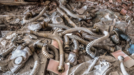 Old gas masks in abandoned school in Chernobyl Exclusion Zone in Belarus.
