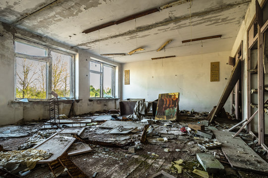 Class room in an abandoned school in Belarus Chernobyl exclusion zone, recently opened for the public from april 2019.