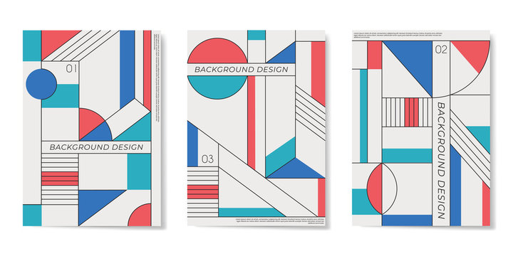 Covers templates set with flat geometric pattern in blue, white, green, yellow and red colors.
