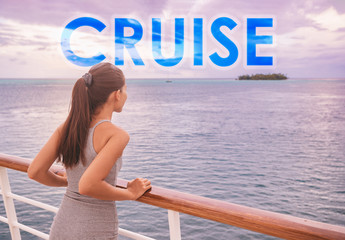 Wall Mural - Cruise ship luxury travel people lifestyle. Word CRUISE in big letters written on background for tourism concept. Travel motivational quote adventure tourist on boat trip vacation in French Polynesia.