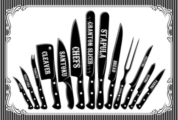 retro poster with a set of different types of knives